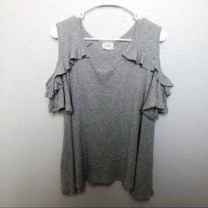 Blue Pepper gray cold shoulder ruffle top